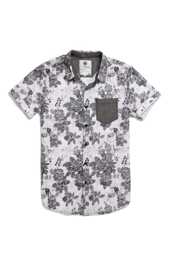 A great Patch-Pocket Floral Print Black-n-white Shirt!